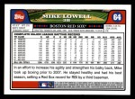 2008 Topps #64  Mike Lowell  Back Thumbnail