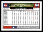 2008 Topps #200  Manny Ramirez  Back Thumbnail