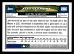 2008 Topps #286  Jeff Clement  Back Thumbnail