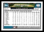 2008 Topps #483  Mike Jacobs  Back Thumbnail