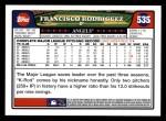 2008 Topps #535  Francisco Rodriguez  Back Thumbnail