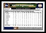 2008 Topps #585  Brian Bannister  Back Thumbnail