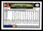 2008 Topps #610  Carlos Beltran  Back Thumbnail