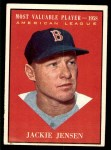 1961 Topps #476   -  Jackie Jensen Most Valuable Player Front Thumbnail