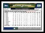2008 Topps #239  Richie Sexson  Back Thumbnail