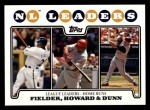 2008 Topps #298   -  Prince Fielder / Ryan Howard / Adam Dunn NL Home Run Leaders Front Thumbnail