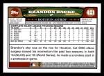 2008 Topps #421  Brandon Backe  Back Thumbnail