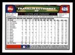 2008 Topps #426  Franklin Gutierrez  Back Thumbnail