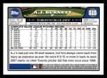 2008 Topps #515  A.J. Burnett  Back Thumbnail