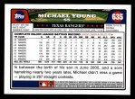 2008 Topps #635  Michael Young  Back Thumbnail
