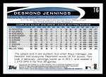 2012 Topps #16  Desmond Jennings  Back Thumbnail