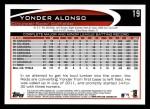 2012 Topps #19  Yonder Alonso  Back Thumbnail