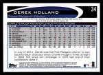 2012 Topps #34  Derek Holland  Back Thumbnail