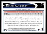 2012 Topps #59   Texas Rangers Postseason Back Thumbnail