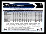 2012 Topps #87  Craig Kimbrel  Back Thumbnail