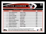 2012 Topps #91   -  Alex Rodriguez / Jim Thome / Jason Giambi Active AL HR Leaders Back Thumbnail