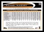 2012 Topps #99  Michael McKenry  Back Thumbnail