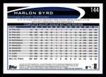 2012 Topps #144  Marlon Byrd  Back Thumbnail