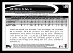 2012 Topps #149  Chris Sale  Back Thumbnail