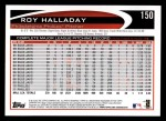 2012 Topps #150  Roy Halladay  Back Thumbnail