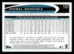 2012 Topps #157  Anibal Sanchez  Back Thumbnail