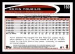 2012 Topps #160  Kevin Youkilis  Back Thumbnail
