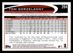 2012 Topps #204  Tom Gorzelanny  Back Thumbnail