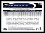 2012 Topps #206  David Robertson  Back Thumbnail