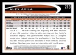 2012 Topps #213  Alex Avila  Back Thumbnail