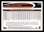 2012 Topps #214  Mike Pelfrey  Back Thumbnail