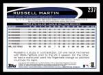 2012 Topps #237  Russell Martin  Back Thumbnail