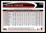 2012 Topps #273  David Freese  Back Thumbnail