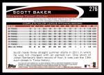 2012 Topps #276  Scott Baker  Back Thumbnail