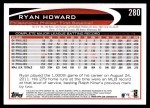2012 Topps #280  Ryan Howard  Back Thumbnail