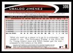 2012 Topps #306  Ubaldo Jimenez  Back Thumbnail