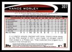 2012 Topps #307  Vance Worley  Back Thumbnail