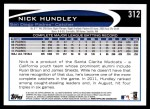 2012 Topps #312  Nick Hundley  Back Thumbnail