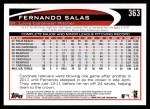 2012 Topps #363  Fernando Salas  Back Thumbnail