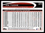 2012 Topps #371  Jim Thome  Back Thumbnail