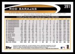 2012 Topps #391  Rod Barajas  Back Thumbnail