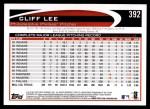 2012 Topps #392  Cliff Lee  Back Thumbnail