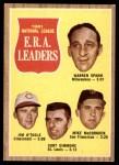 1962 Topps #56   -  Warren Spahn / Jim O'Toole / Curt Simmons / Mike McCormick NL ERA Leaders Front Thumbnail