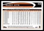 2012 Topps #420  Barry Zito  Back Thumbnail