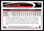 2012 Topps #441  Mike Aviles  Back Thumbnail