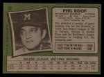 1971 Topps #22   -  Phil Roof    Back Thumbnail