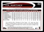 2012 Topps #457  J.D. Martinez  Back Thumbnail