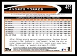 2012 Topps #489  Andres Torres  Back Thumbnail