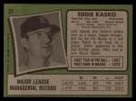 1971 Topps #31  Eddie Kasko  Back Thumbnail