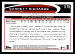 2012 Topps #575  Garrett Richards  Back Thumbnail