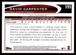 2012 Topps #595  David Carpenter  Back Thumbnail